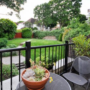 balcony over looking gardens